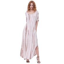 Kate Kasin Womens Casual Loose Bequeme kurze Ärmel V-Neck Tie Dye Maxi Kleid KK000701-3