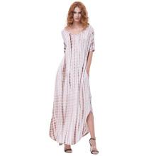 Kate Kasin Womens Casual Loose Bequeme kurze Ärmel V-Neck Tie Dye Maxi Kleid KK000701-3