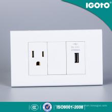 Receptáculo padrão americano de 3 pinos com carregador de tomada USB Tomada eléctrica Power Point