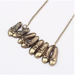 Vintage metal 4 pairs of woman shoes alloy pendant necklace jewelry for lady antique bronze plated fashion style