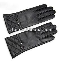 Custom moda marrom inverno luvas de couro para as mulheres