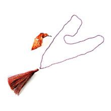 Collar de borlas colorido anudado hecho a mano cristalino largo de 4m m