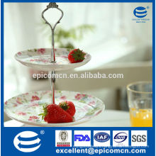 garden series flowery 2 tiers cake stand for party banquet, porcelain cake set