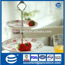 Jardim série florido 2 tier bolo stand para banquete de festa, conjunto de bolo de porcelana