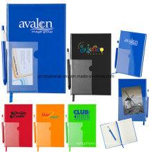 80-seitiges, liniertes Notizbuch aus laminierter PVC-Folie mit Stiften und Lesezeichen