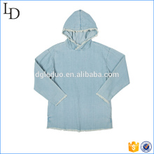 Light blue washed plain slim fit hoodies 100% cotton denim hoodies