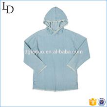 Luz azul lavado planas slim fit hoodies 100% algodão denim hoodies