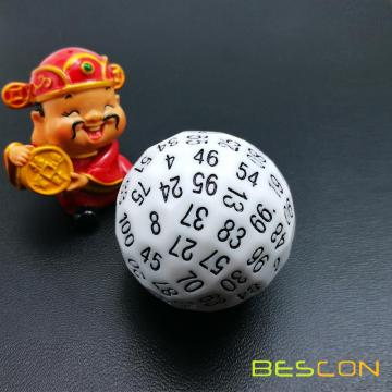 Bescon Polyhedral Dice 100 Sides Dice, D100 mort, 100 Cided Cube, D100 Game Dice, 100-Cided Cube of White Color