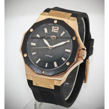 Swiss Movement Men′s Sport Wrist Watch with Silicone Rubber Band