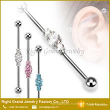 Acier chirurgical 316L trois boucles d'oreille industrielles liées de Barbell CZs