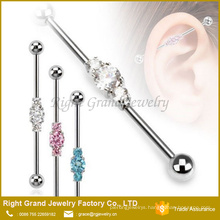 316L Surgical Steel Three Linked CZs Industrial Barbell Earring