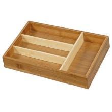 Bamboo wood tableware box utensil organizer