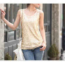 Suumer Top with Sequins Women Sexy Tank Top