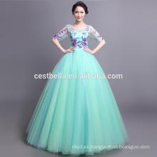 Quinceanera viste vestido de bola vestidos de moda de manga larga exquisito azul vestido de novia vestido de boda