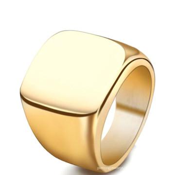 Mais recente Novo Design Em Branco Fundição Simples Titanium Ouro PVD Dos Homens O Anel de Dedo Jóias