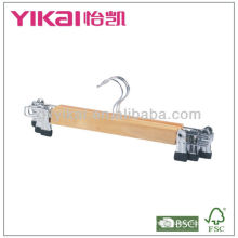Set of 3pcs wooden skirt hanger with metal clips