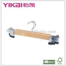 Conjunto de 3pcs cabide de saia de madeira com clipes de metal