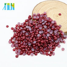 Wholesale Imitation Craft Flat Back Half Round Pearls Beads Pearls for Clothing, Z33-Dark Red