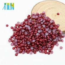 Оптовая имитация ремесла плоской задней половина круглый жемчуг бисер жемчуг для одежды, Z33-темно-красный