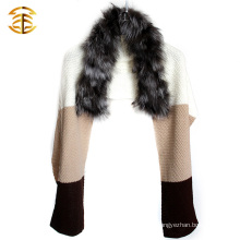 100% Real Genuine Knit Silver Fur Scarf Cape Stole Coat Wrap Fur Shawl