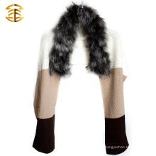 100% Real Genuine Knit Silver Fur Scarf Capa Stole Coat Wrap Fur Shawl
