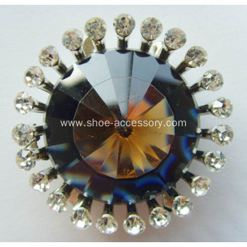 Fashion Alloy Shoe Buckle with Glass Diamante, Elegant Design Metal Buckle