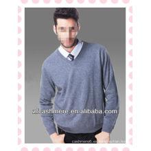Moda para hombre cuello en V tejer jersey liso de cachemira, suéter