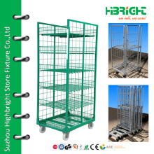 warehouse metal foldable logistic roll cart