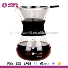 2016 Hot Selling Borosilicate Decanter Com Permanente De Aço Inoxidável Coffee Dripper