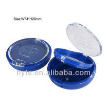boîte de poudre cosmétique ronde bleue