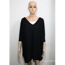 Lady Fashion Acryl Viskose Gestricktes V-Neck Shirt (YKY2019)