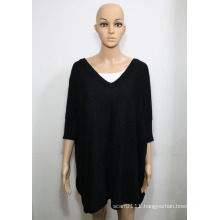 Lady Fashion Acrylic Viscose Knitted V-Neck Shirt (YKY2019)