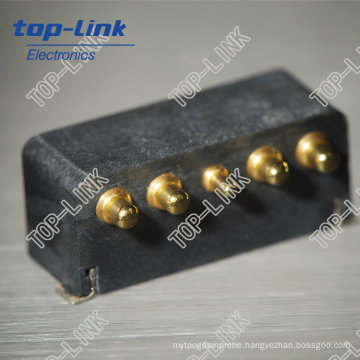 Custom Brass Spring Pogo Pins with 5 Pin, Au Plating