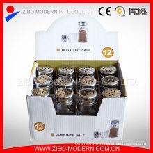 Pot d'épices en verre avec couvercle en acier inoxydable et boîte à affichage
