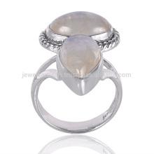 Handgefertigte natürliche Regenbogen Moonstone Edelstein 925 Sterling Silber Ring Schmuck