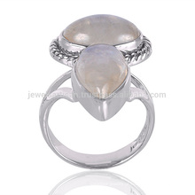 Hand Crafted Natural Rainbow Moonstone Gemstone 925 Sterling Silver Ring Jewelry