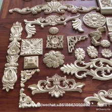 rubber wood carved decorative corner block rosette for furniture