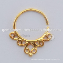 Handmade Tribal Septum Nose Ring - Gold Plated 925 Sterling Silver Septum Nose Ring Jewelry Suppliers