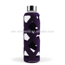 Nuevas ideas empresariales Regalo promocional Reutilización portátil Botella de cristal grande Agua