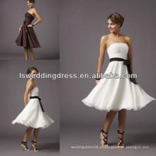 HB2011 Venda quente branco com faixa preta mini mini vestido de dama de honra