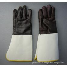 Manchette de trompette de gant de travail en cuir de soudure de meubles de couleur foncée