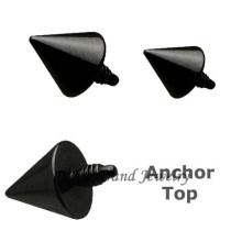 Black Titanium Anodized Spike Custom Dermal Anchor Jewelry