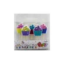 Pastel de cumpleaños colorido Velas de dibujos animados