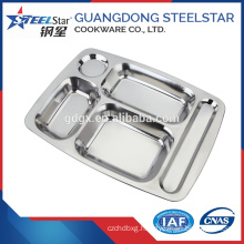 Stainless steel 5 compartment fast food tray / school dinner plate