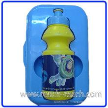 Eau en plastique d'enfants boire bouteille avec boîte à Lunch (R-1097)