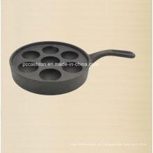 Molde del huevo del hierro fundido 7PCS con el tamaño los 20cm de la manija