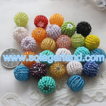 18/20/25MM Acrylic Chunky Woven Beads Covered With Colorful Glass Seed Beads