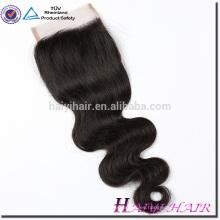 Cierre de base de seda brasileña de alta calidad del pelo de la Virgen del suministro del fabricante