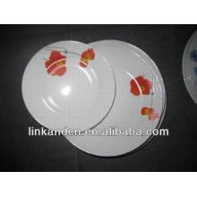 Haonai brillante placa de vajilla de cerámica de decoración establece