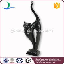 Decoración de cerámica del hogar del gato negro encantador al por mayor de la alta calidad